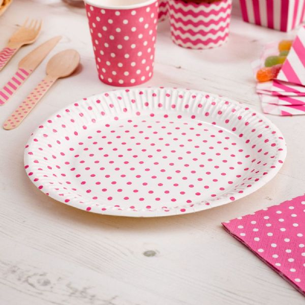 Carnival Pink Paper Plates - Dots (8)